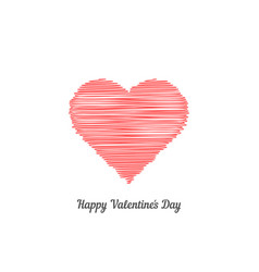 red scribble heart like happy valentine day vector image vector image
