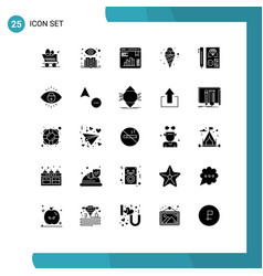 25 thematic solid glyphs and editable symbols of vector image