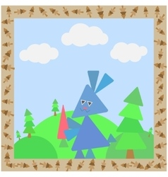 Abstract card with rabbit vector image