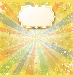 abstract vintage background with rays and label vector image