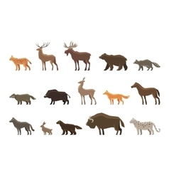 Animals icon set symbols such as lynx vector