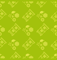 Apiary and beekeeping seamless pattern vector