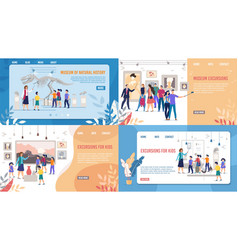 Art and natural museum excursion landing page set vector