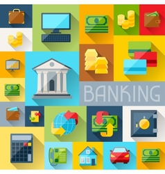 Background with banking icons in flat design style vector