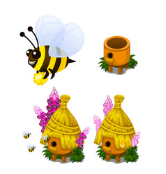 Bee carrying honey and bee hive in cartoon style vector