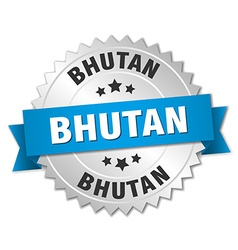 Bhutan round silver badge with blue ribbon vector