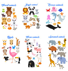 big collection cute cartoon animals vector image
