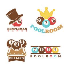 billiard or pool club poolroom labels vector image