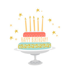 birthday greeting card with cake and stars vector image