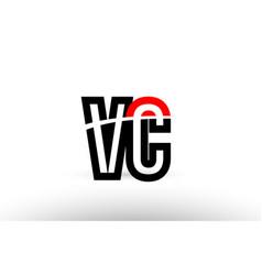 Black white alphabet letter vc v c logo icon vector