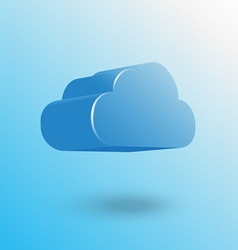 blue cloud icon floating with shadow vector image