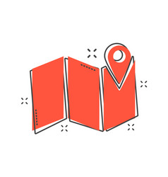 Cartoon map pin icon in comic style location gps vector