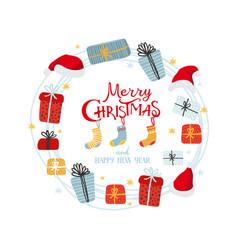 christmas wreath gifts santa hats and socks vector image