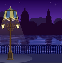 city skyline at night quay fence vector image