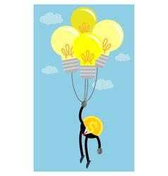 coin money in the air by idea light bulb balloon vector image
