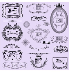 Collection of menu calligraphic frames and vector