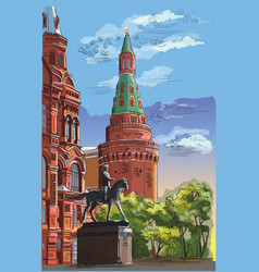 colorful hand drawing moscow-7 vector image