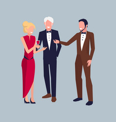 company of three at party vector image