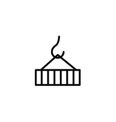 container on crane icon on white background vector image