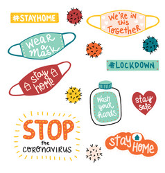 coronavirus covid19-19 letterings and other vector image