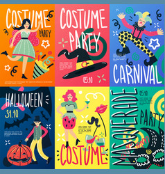costume party placards set vector image