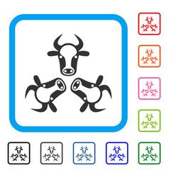 Cow trinity framed icon vector
