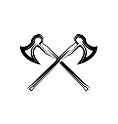 crossed medieval warrior axes vector image