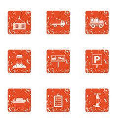Cruise icons set grunge style vector