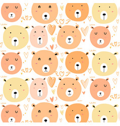 Cute bear pattern background vector