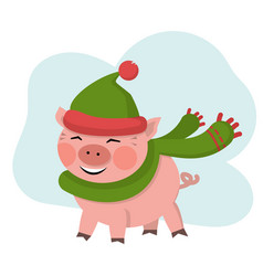 cute pig smile in green hat vector image