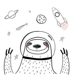 Cute space sloth vector