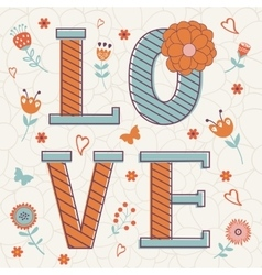 Cute Valentines day card with word love and vector
