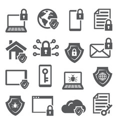 cyber security icons on white background vector image