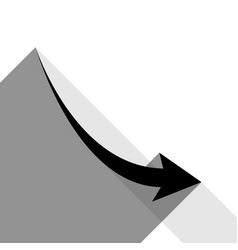 Declining arrow sign black icon with two vector