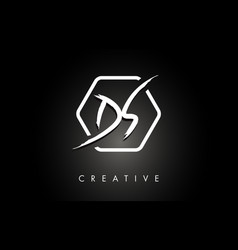 ds d s brushed letter logo design with creative vector image