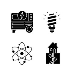 Electric energy glyph icons set vector