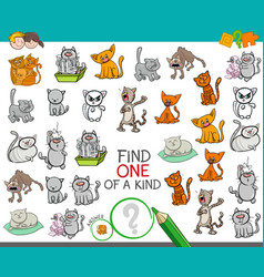 Find one of a kind game with cat characters vector
