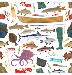 fisherman sport and fishing fish pattern vector image