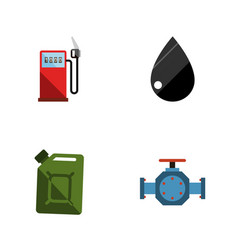 flat icon oil set of petrol droplet fuel vector image