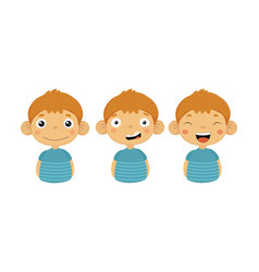 flat set of little boy with different vector image