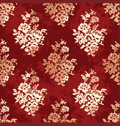 floral pattern on dark red vector image