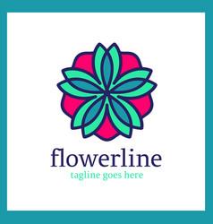 flower line logo vector image