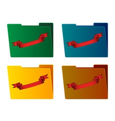 Folders with ribbon vector
