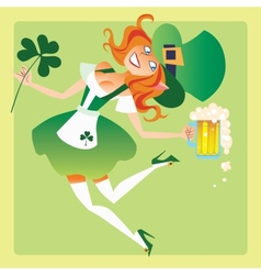 Girl elf on the feast day of St Patrick vector image