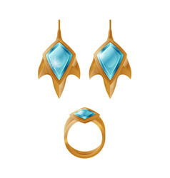 Golden earrings and ring set vector