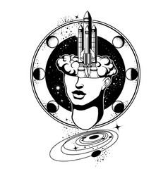 hand drawn of female head with rocket surreal vector image