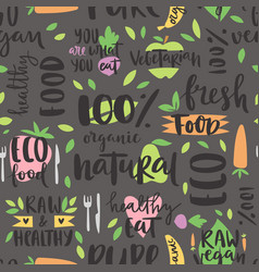 Hand drawn style seamless pattern bio organic eco vector