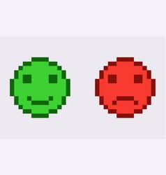 Happy and unhappy 8 bit emoticon joyful vector