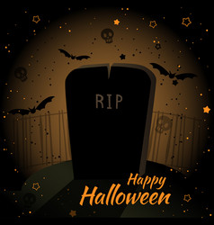 Happy halloween dark card design with grave vector