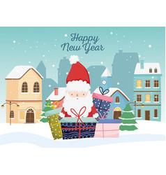 happy new year 2020 celebration cute santa gifts vector image
